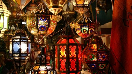 Marrakech-shopping-tours-Lanterns in souk